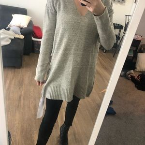 Free people grey sweater with ribbon detailing